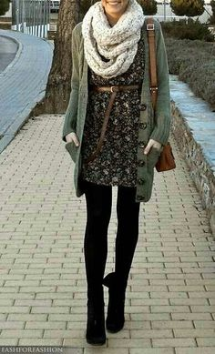 Love this green sweater... and the outfit isn't that bad either although not too much into belts