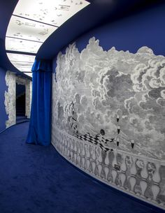 Iconic Fornasetti's Nuvole (Clouds) wallpaper is dressing Milan's Triennale Teatro dell'Arte's entrance and hallways as of its re...