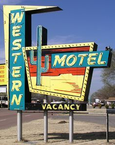 OK-Rte 66 Western Motel, Route 66 - Sayre, Oklahoma Route 66 Oklahoma, Old Route 66, Route 66 Road Trip, Historic Route 66, Travel Route, Old Neon Signs, Vintage Neon Signs, Old Signs, Font Design