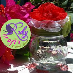 FLOWER MASON JAR Big (A Ruby Crafts Original) Originally designed and sold by Ruby Crafts and Gifts Shop #rubycrafts #rubycraftsandgiftsshop #giftshop #flowerfavorjar #personalizedjar #masonjar #giftjar #favorjar #giveawayjar #savingsjar #flowerjar #floraljar #giftideas #giveawayideas #weddingsouvenir #token #souvenir Favour Jars, Favors, Savings Jar, Flowers In Jars, Wine Glass, Mason Jars, Big, Tableware, Floral