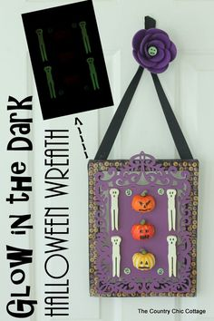 Glow in the Dark Halloween Wreath -- make your front door glow this Halloween with this fun wreath that you will love to make!