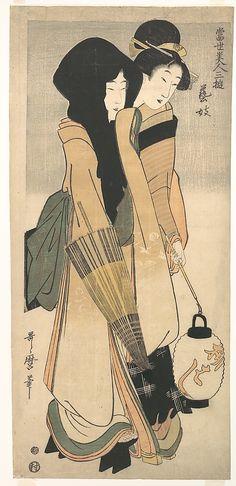 Kitagawa Utamaro (Japanese, 1753–1806) | Two Women Walking at Night, The Metropolitan Museum of Art - metmuseum.org