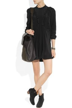 Isabel Marant|Salvia ruffled silk dressand boots, Marni bag