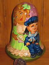 Russian Wooden Hand Painted Wobbly doll GIRL Sailor Boy signed, with Bell Ring