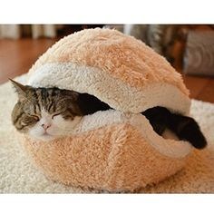 Hamburger Pet Cats Beds Kitty Cat Dogs Litter Shell Nest Sleeping Bag Sofa Removable Thermal Hiding Burger Bun for Pets (Beige, S)