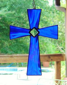 Blue Stained Glass Cross with glass Bevel