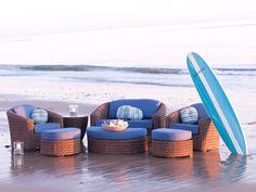 Wicker furniture on beach
