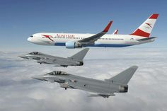 Austrian Air Force Eurofighter Typhoon Ss in formation with an Austrian Airlines Boeing Birds In The Sky, Passenger Aircraft, Civil Aviation, War Machine, Timeline Photos, Military Aircraft, Air Force, Fighter Jets, Pilot