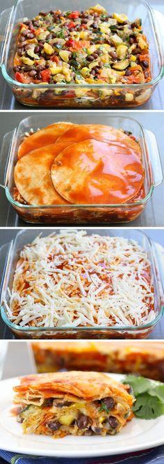 Roasted Vegetable Stacked Enchiladas  #recipe