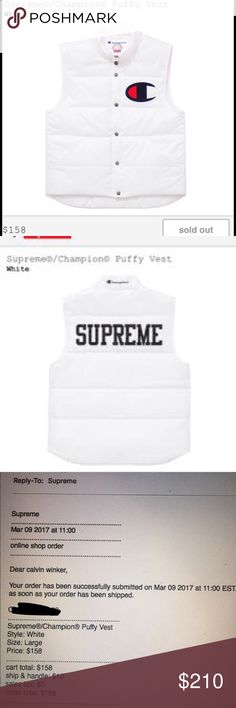 Selling this Supreme x Champion Large Puffy White Vest on Poshmark! My username is: calwinker. #shopmycloset #poshmark #fashion #shopping #style #forsale #Supreme #Other #Champion #Vest