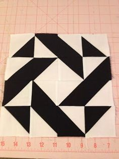 knit 'n lit: Modern Half-Square Triangle Quilt-A-Long Block 7 (Lila)