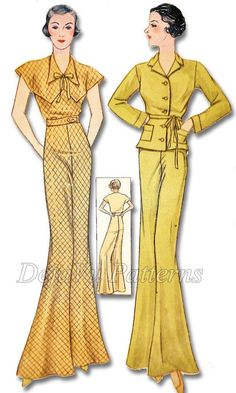 Simplicity 1405 Vintage 1930s Loungewear Pajamas Sewing Pattern by DejaVuPatterns