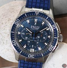 220af14c936 Zenith El Primero Stratos Flyback Chronograph Steel 46mm Blue Dial On Rubber