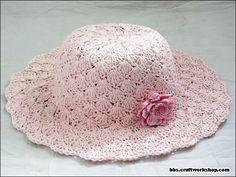 Chapeu de croche rosa doce rosa - CROCHE COM RECEITAS