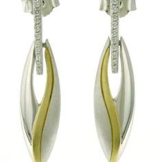 14K two-tone gold and diamond earrings. | Johannes Hunter Jewelers