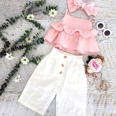 Baby Girls Ruffle T-Shirt + Pants + Headband Outfit Set, , Baby Girl Fashion, Girls Summer Outfits, Little Girl Outfits, Little Girl Dresses, Girls Dresses, Summer Clothes, Clothes For Kids, Kids Clothing, Baby Summer Dresses, Newborn Clothing