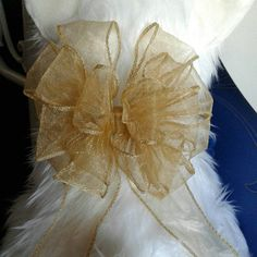 Set of 6 Ready Made Large Gold Organza Ribbon Bows Pre Tied