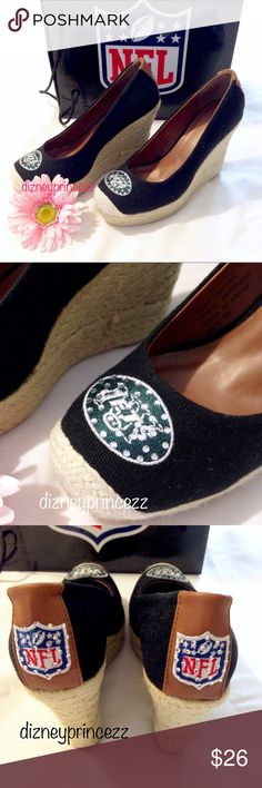 💚 New York Jets Heels Jeweled Embellished 🎀Thank you for visiting my closet! 💚 New York Jets Heels 🎀Quality Embroidery Animal-free Product  🎀 I have a very clean smoke free home and will ship next day! 🎀 Only reasonable offers will be considered thank you! 🎀 I plan to follow Posh rules so please don't ask if I'll sell elsewhere or trade Thank you so much!  🎀 Please follow Posh etiquette and don't advertise on my listings and be polite 🎀 NFL Shoes Wedges