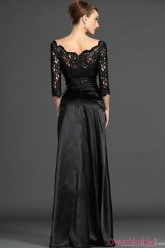 Long Black Lace And Taffeta Mother Of Bride Dress mother dress mother dresses