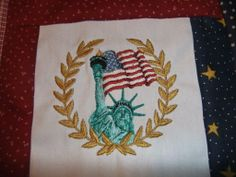 "Embroidered 10"" square for the Quilts of Valor"