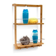 Bamboo Wall Mounted Shower Caddy