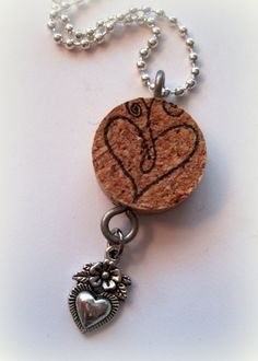 Necklace, Wine Cork Necklace, Recycled Jewelry, Wine Lovers Gift, Stamped Cork, Heart Charm