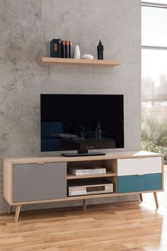 Retro Tv Cabinet Wooden Television Stand Media Storage Cupboard Drawer Shelves