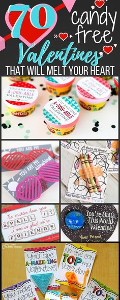 A great roundup of Candy Free Valentine's for Kids! These are great and many include Free Printouts to make your DIY Valentines even easier to make for the classroom or just for fun.