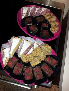 Chocolate mousse cake, cinnamon crumble muffins and lemon cake.