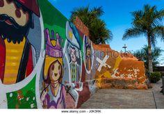 Street view with murals on the walls in Puerto de la Cruz, Tenerife, Spain - Stock Image