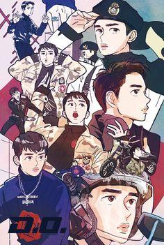 D.O. <credits to owner> Character Design, Exo Art, Drawings, Exo Fan Art, Exo Chibi Fanart, Art, Anime, Exo Anime, Fan Art