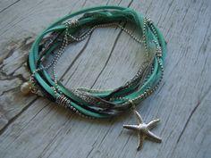 Starfish Anklet Ankle Wrap Bracelet  Aqua & by BohemienneBelle, $20.00