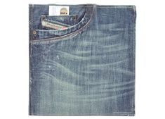 Custom binder covers, fabric, Diesel: unique binders made from actual jeans with sewn edges and exterior jean pockets.