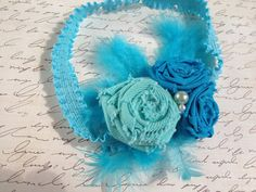 turquoise fabric flower headband rolled fabric by Yuliyasboutique