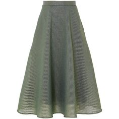 Cefinn Striped metallic cotton-blend voile midi skirt (16.980 RUB) ❤ liked on Polyvore featuring skirts, green, flare skirt, flared skirt, stripe midi skirt, knee length flared skirts and green midi skirt