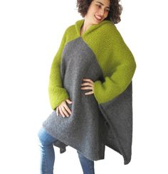 NEW Green Gray Pelerine by AFRA Over Size Plus Size от afra