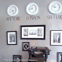 World map vinyl wall sticker time zones and clocks for Decor zone bedroom