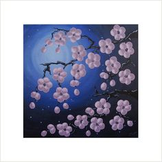 Cherry Blossom Painting, Pink Flower Painting, Japanese Blossom Art, Original Painting on Canvas, Night Sky Artwork, Small Acrylic Painting by deejavuart on Etsy https://www.etsy.com/uk/listing/105097919/cherry-blossom-painting-pink-flower