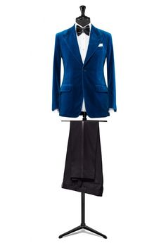 Teal velvet dinner suit made to measure