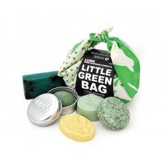 LUSH | Little Green Bag | Contains : Squeaky Green Shampoo Bar, Mini Sugar Scrub, Sexy Peel Soap, Each Peach Mini Massage Bar, Shampoo Bar Tin | $25.95