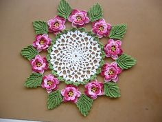 Rose doily. Pattern link in post.