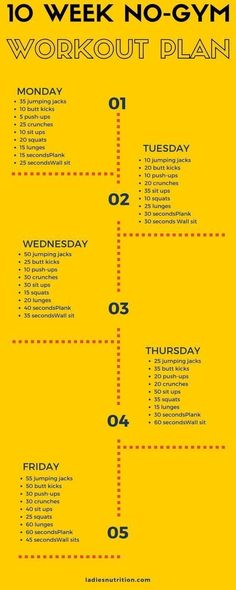 10 Week No-Gym Home Workout Plan That Is Guaranteed To Burn Fat diet workout plan #Gymworkoutplans #WorkoutPlans
