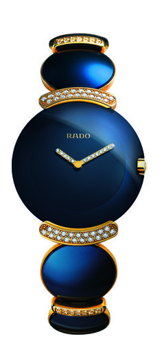 Rado Blue Fascination Jubilé timekeeper, 18K gold bracelet, 206 diamonds, scratch-resistant sapphire crystal face and ceramic bracelet.