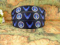 Air Force Department 1 printed grosgrain ribbon for by fancypaper Military Ribbons, Birthday Hair, Wedding Scrapbook, Headband Hairstyles, Grosgrain Ribbon, Home Crafts, Hair Bows, Headbands, Air Force