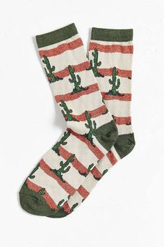 Shop Cactus Sock at Urban Outfitters today. We carry all the latest styles, colors and brands for you to choose from right here. Funky Socks, Crazy Socks, Cute Socks, Boot Socks, My Socks, Cr V Honda, Pyjamas, Cactus Socks, Urban Outfitters