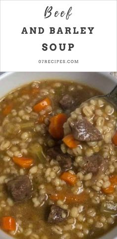 This beef barley soup tastes intensely beefy, with tender chunks of beef, plump pearls of barley, and tender, perfectly cooked vegetables. Vegetable Beef Barley Soup, Mushroom Barley Soup, Vegetable Soup Recipes, Crockpot Beef Barley Soup, Barley Recipes, Healthy Beef Recipes, Healthy Sweet Snacks, Beef Chunks Recipes, Beef Soup Recipes