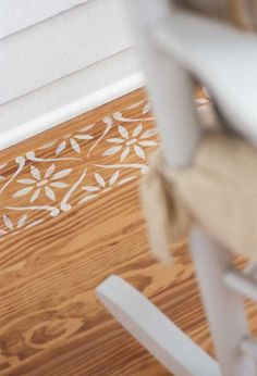 Paint the borders of a wall or floor rug with our Daisy Chain Wall Stencil Border. This flower stencil comes in a half width version: Half Daisy Chain Wall Stencil Border Stencil Pattern Size: x Sheet Size: x Single Layer DesignSKU Painted Wood Floors, Painted Furniture, Diy Furniture, Wood Flooring, Furniture Stencil, Painted Rug, Flooring Ideas, Kitchen Flooring, Stenciled Floor