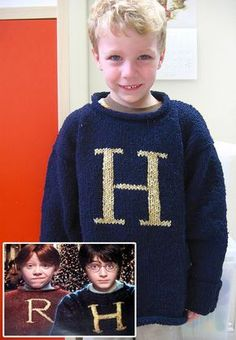 Free Knitting Pattern for Weasley Christmas Sweater - Allison Hansel designed this sweater after the sweaters Mrs. Weasley made for her kids and Harry for Christmas in the first movie. Excerpted from Charmed Knits: Projects for Fans of Harry Potter by Alison Hansel.