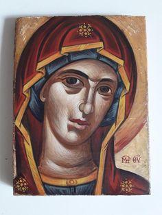 Παναγία, By Aggeliki Papadomanolaki I Icon, Christian Art, Byzantine, Portrait, Painting, Catholic Art, Headshot Photography, Painting Art, Portrait Paintings