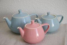 pastel tea pots